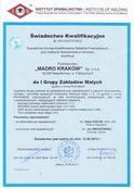 Świadectwo Kwalifikacyjne Nr 161/1247/IV/2012