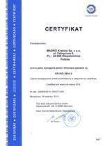 Certyfikat spełnienia wymagań jakości spawania wg EN ISO 3834-2