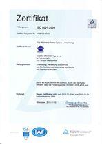 ISO – Zertifikat ISO 9001:2008 - ausgestellt vom TUV-Rheinland Polen ID: 910 5055 377 - Betrifft: - Projektierung, Herstellung und Montage von Straßenbaumaschinen -Produktion von Stahlkonstruktionen